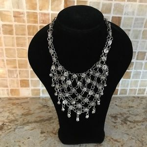 LE CHATEAU SILVER TONE CHAINMAIL BIB NECKLACE